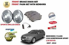 FOR MERCEDES C200 1.8 SPORT ESTATE 2007-> FRONT BRAKE DISC + PADS + SENSORS SET