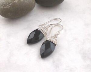 Große ONYX Ohrringe Briolettes 925 Silber, Ohrhänger schwarz Sterlingsilber g113
