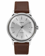 Timex Men's Marlin Auto 40Mm Leather Watch Stainless Steel Acrylic Silver