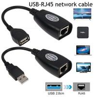 USB Extension Ethernet RJ45 Cable LAN Adapter Extender Over Repeater Set