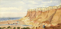Mary C. Durst, Bathing at Hunstanton Cliffs, Norfolk – 1888 watercolour painting