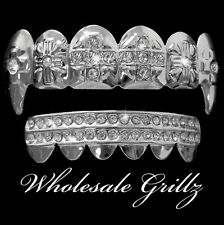 NEW Dracula VAMPIRE FANG Teeth Grillz Platinum Silver Tone iced Out HipHop Grill