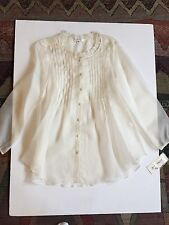 New with Tags Natural Silk Organza Luna Luz Top size S