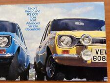 Ford Escort Mk1 Mexico & RS 1600 1972-73 UK Avo Sve Brochure