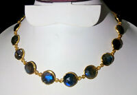 Natural Labradorite Stone Gold Plated Handmade Bezel Connector Fashion Necklace1