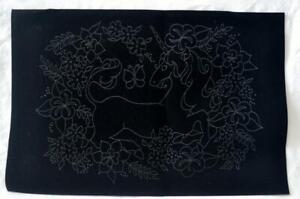 "Tri-Chem Paint Crafts Unicorn and Flowers Black Velveteen 12"" x 18"""
