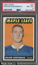 1965 Topps Hockey #20 Orlando Kurtenbach Maple Leafs PSA 8 NM-MT