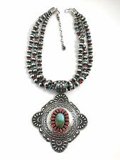 Native American Sterling Silver Navajo Handmade Royston Turquoise Necklaces
