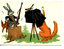 Hunter Bunny Rabbit-Photo w/ Tripod Camera-1958 Artwork Vintage Russian Postcard
