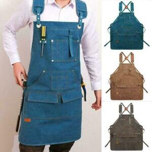 Woodworking Shop Apron Canvas Work Apron with Pockets for Men Women Tool