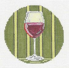 Red Wine Glass Drink Ornament handpainted Needlepoint Canvas Needle Crossings