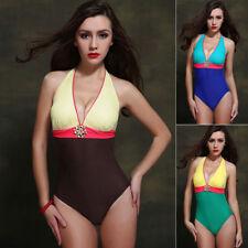 Polyester Patternless Briefs V Neck Swimwear for Women