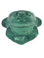 VINTAGE INDIANA ART GLASS GREEN FROG SITTING VOTIVE CANDLE HOLDER & PAPERWEIGHT