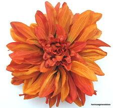 "Large 6"" Variegated Rust Orange Dahlia Silk Flower Hair Clip,Wedding,Dance,Prom"