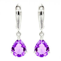 EARTH MINED 12X10MM AAA AFRICAN AMETHYST PEAR PURPLE GEMSTONE SILVER 925 EARRING