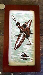 Eskimo Art Tile In Walnut Frame Titled Hunting From Kayak