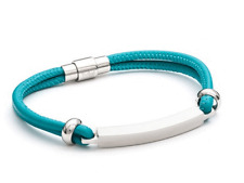 Designer - Tribal Steel - Ladies Turquoise Nappa Leather 2 Strand Bracelet