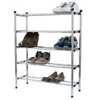 5 Tier 15 Pair Adjustable Chrome Shoe Rack Storage Shelf Unit Organiser Holder