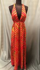 Ladies Barefoot Journey Red Yellow Summer Backless Halter Neck Dress Size 8/10