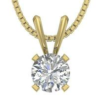 1.00 Ct Solitaire Pendant Round Cut Diamond 14K White Yellow Rose Gold Prong Set