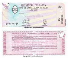 Argentina (Provincia Salta) 1 austral 1987 Billetes Unc