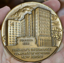 "BRONZE MEDAL 1855 - 1955  3""  FIREMEN'S INSURANCE CO. OF NEWARK NJ"