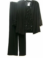 Antthony 3 Piece Rodeo Drive Sparkle Ruffle Pant Set Outfit BLACK Sz S Small