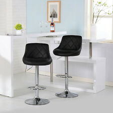 Set of 2 Counter Height PU Leather Bar Stools Adjustable Swivel Chair Pub Dining