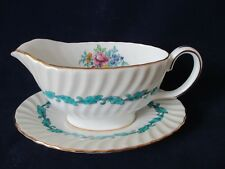 Minton Ardmore Ivory Rim Turquoise Floral Swirl Gravy Boat Detached Under Plate
