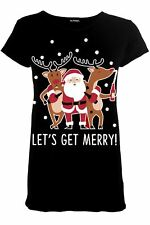 Womens Ladies Xmas Festive Novelty Tee Top Christmas Pudding Funny Boobs T Shirt