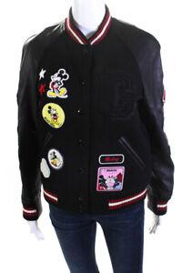 Disney x Coach Womens Mickey Mouse Patch Leather Varsity Jacket Black Size Small