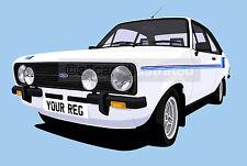 FORD ESCORT HARRIER CAR ART PRINT (A4 SIZE). CHOOSE CAR COLOUR, ADD REG PLATE