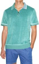 American Apparel Mens Shirt Artic Green Size Large L Velour Zip-Up Polo $58 885