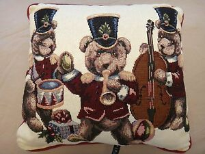 Free Shipping!  Dakotah Christmas Musical Bears Pillow - Needlepoint - NWOT