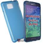 Cover Custodia Per Galaxy Alpha G850 G850F AZZURRO Silicone Gel TPU + Pellicola