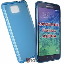 Cover Custodia Per Samsung Galaxy Alpha G850 G850F AZZURRO Silicone Gel TPU