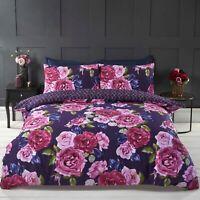"Rapport ""Mia"" Floral Rose Reversible Geometric Duvet Cover Bedding Set Multi"