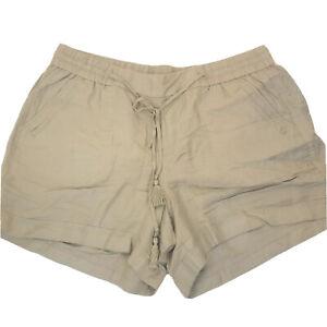 Lane Bryant Tan Khaki Linen Blend Elastic Drawstring Waist Shorts Size 18 20