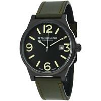 Stuhrling Osprey Men's 42mm Green Calfskin Stainless Steel Case Watch 454.3355D1
