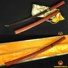 "Handmade Katana Japanese Samurai Red Wooden Shirasaya Sword Black&Red Blade 41"""