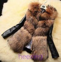 Women Real Fox Fur Coat Winter Jackets PU Leather Thick Outwear Slim Parka S-3XL