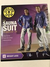 Gold's Gym Weight Loss Blue & Gray Vinyl Sauna Suit Size L/XL *NEW*