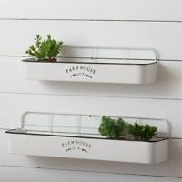 New Set of 2 WHITE FARMHOUSE LOCAL SHELF Wall Hanging Metal Rack Bins