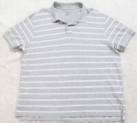 Eddie Bauer Polo Shirt XXL Gray White Striped Cotton Top Men's Man 2XL 2-Button