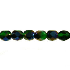 Green Emerald Azuro - 50 6mm Round Faceted Czech Glass Fire Polish Beads