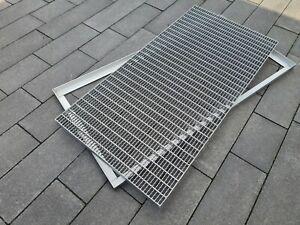 Edelstahl Gitterrost mit Rahmen 500 x 1000 mm Gleitschutz, Fußabstreifer