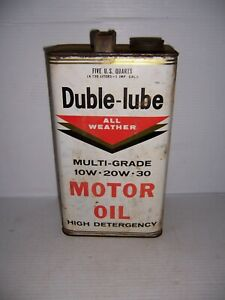 Vintage Duble-Lube All Weather Motor Oil 5 Quart Can Gas Station Advertising