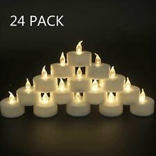 24-Pack Flamele LED Tea Light Candles in Cold White Flickering Battery Operated