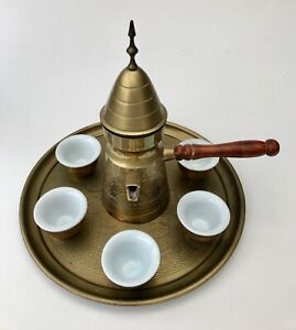 An early 20th century Arabian brass tea set on tray. FREE DELIVERY.