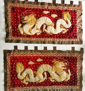 30384 Two Stunning Chinese Dragon embroidered wall hangings